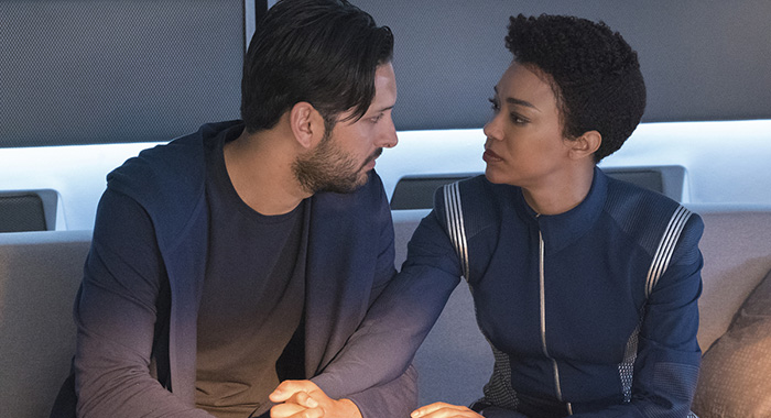 "Star Trek: Discovery - ""Into the Forest I Go"" -- Episode 109 -- Pictured (l-r): Shazad Latif as Lieutenant Ash Tyler; Sonequa Martin-Green as First Officer Michael Burnham (Michael Gibson/CBS)"