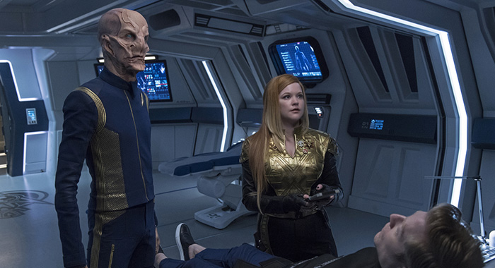 Doug Jones. Mary Wiseman, and Anthony Rapp in Star Trek: Discovery (Ben Mark Holzberg/CBS)