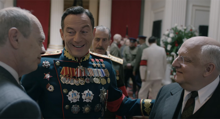 Steve Buscemi, Jason Isaacs, Simon Russell Beale in a screencap from The Death of Stalin trailer (IFC Films)