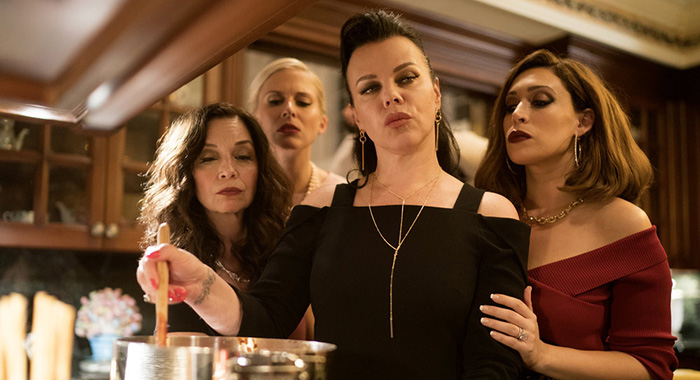 "HAPPY! -- ""The Scrap Yard of Childish Things"" Episode 106 -- Pictured: (l-r) Karen Giordano as Elena, Stephanie Gibson as Pixley, Debi Mazar as Isabella Scaramucci, Catherine Lefrere as Anna Theresa -- (Photo by: Peter Kramer/Syfy)"