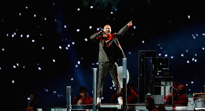 Justin Timberlake performs onstage during the Pepsi Super Bowl LII Halftime Show at U.S. Bank Stadium on February 4, 2018 (Streeter Lecka/Getty Images)