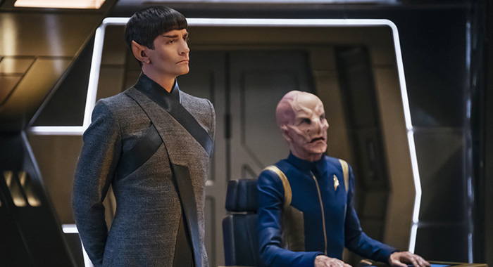 James Frain as Ambassador Sarek; Doug Jones as Saru of the CBS All Access series STAR TREK: DISCOVERY. (Jan Thijs/CBS)