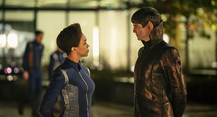 Sonequa Martin-Green as Michael Burnham; James Frain as Ambassador Sarek of the CBS All Access series STAR TREK: DISCOVERY (Jan Thijs/CBS)