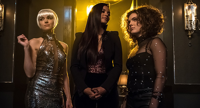 "Erin Richards, Jessica Lucas and Camren Bicondova in the ""Pieces Of A Broken Mirror"" spring premiere episode of GOTHAM (Jeff Neumann/FOX)"