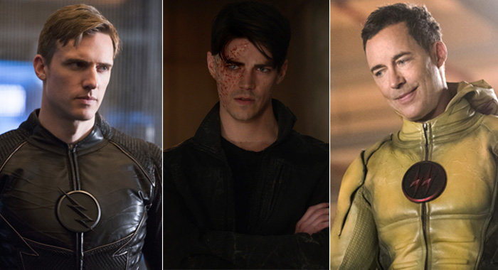 The Flash - speedsters Teddy Sears as Jay Garrick; Grant Gustin as Savitar; Tom Cavanagh as Dark Flash (Diyah Pera/Jack Rowand/The CW)
