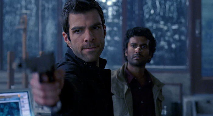 Zachary Quinto and Sendhil Ramamurthy in Heroes season 2, episode 11 screencap