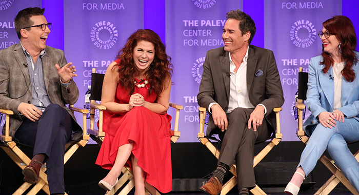 Sean Hayes, Debra Messing, Eric McCormack, and Megan Mullally attend PaleyFest LA 2018 honoring Will & Grace on March 17, 2018 (Brian To for the Paley Center)