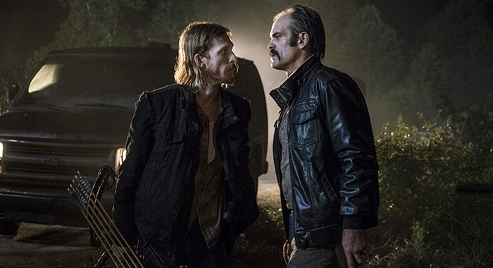 Austin Amelio as Dwight, Steven Ogg as Simon - The Walking Dead _ Season 8, Episode 13 - Photo Credit: Gene Page/AMC