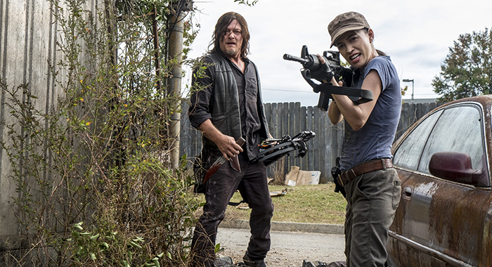 Norman Reedus as Daryl Dixon, Christian Serratos as Rosita Espinosa - The Walking Dead _ Season 8, Episode 15 - Photo Credit: Gene Page/AMC