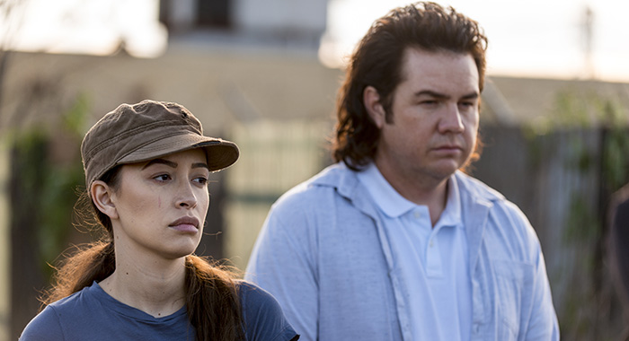 Josh McDermitt as Dr. Eugene Porter, Christian Serratos as Rosita Espinosa - The Walking Dead _ Season 8, Episode 15 - Photo Credit: Gene Page/AMC