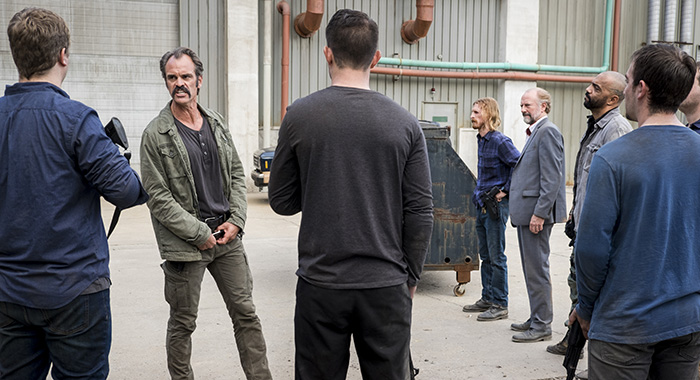 Steven Ogg as Simon, Austin Amelio as Dwight, Xander Berkeley as Gregory, Saviors - The Walking Dead _ Season 8, Episode 15 - Photo Credit: Gene Page/AMC
