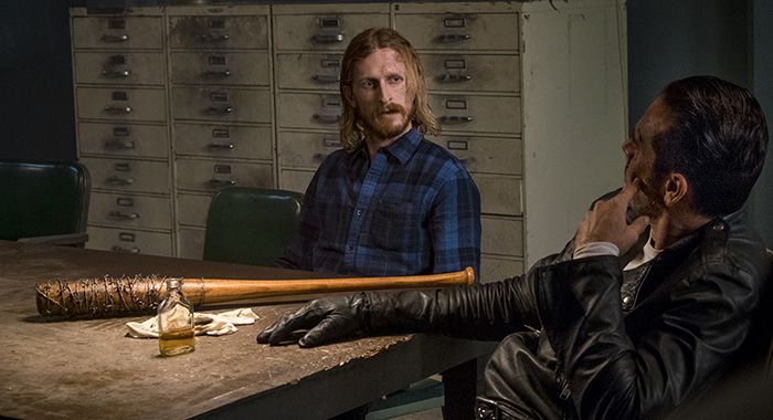 Jeffrey Dean Morgan as Negan, Austin Amelio as Dwight - The Walking Dead _ Season 8, Episode 15 - Photo Credit: Gene Page/AMC