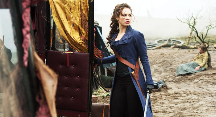 Lily James in Pride and Prejudice and Zombies (Screen Gems/courtesy Everett Collection)