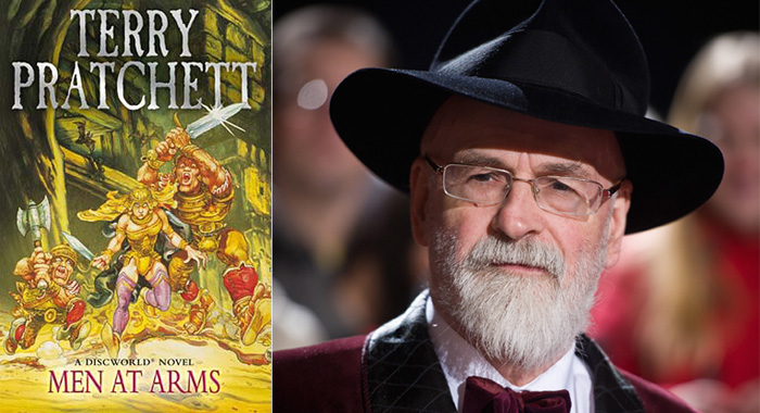 Discworld novel Men at Arms; the late author Terry Pratchett (publisher Victor Gollancz; Ian Gavan/Getty Images)