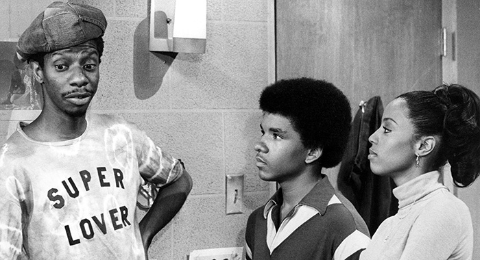 GOOD TIMES, Jimmie Walker, Ralph Carter, BernNadette Stanis, 06-33-77, 1974-1979. Season 5 (Courtesy Everett Collection)