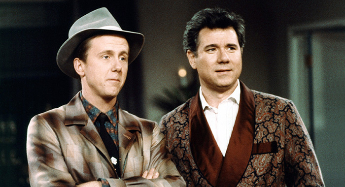 NIGHT COURT, (from left): Harry Anderson, John Larroquette, (1987), 1984-92. ©Warner Bros. Television / Courtesy: Everett Collection.