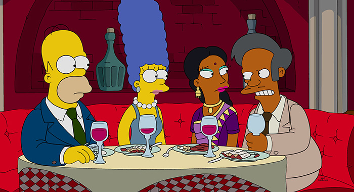 THE SIMPSONS, l-r: Homer Simpson, Marge Simpson, Manjula, Apu Nahasapeemapetlion in 'Much Apu About Something' (Season 27, Episode 12, aired January 17, 2016). TM and Copyright ©20th Century Fox Film Corp. All rights reserved./courtesy Everett Collection