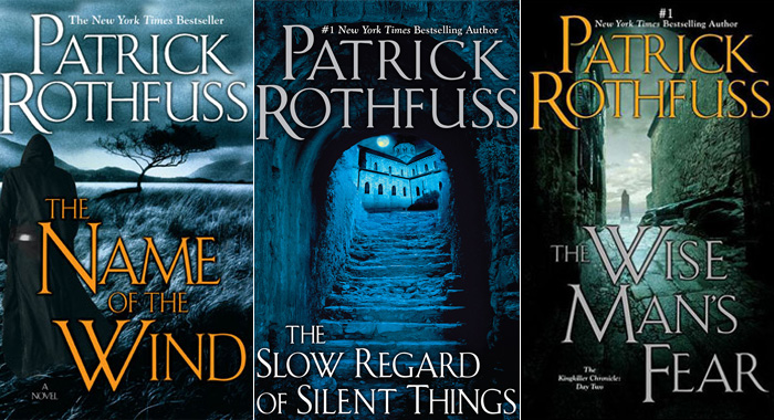 The Kingkiller Chronicle book covers - by Patrick Rothfuss (DAW Books)