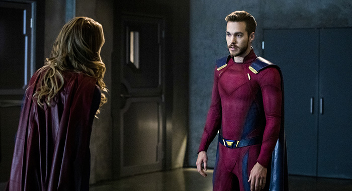 "Supergirl -- ""In Search of Lost Time"" -- Image Number: SPG315b_0161.jpg -- Pictured (L-R): Melissa Benoist as Kara/Supergirl and Chris Wood as Mon-El -- Photo: Jack Rowand/The CW -- © 2018 The CW Network, LLC. All Rights Reserved."