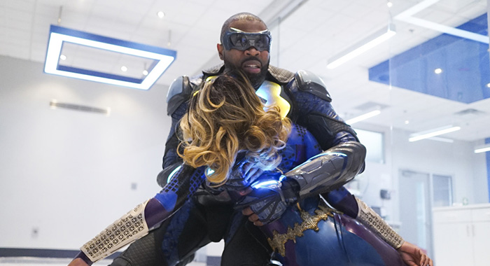 "Black Lightning -- ""Three Sevens: The Book of Thunder"" -- Image BLK106b_0344b.jpg -- Pictured (L-R): Cress Williams as Black Lightning and Nafessa Williams as Anissa Pierce -- Photo: Annette Brown/The CW -- © 2018 The CW Network, LLC. All rights reserved."