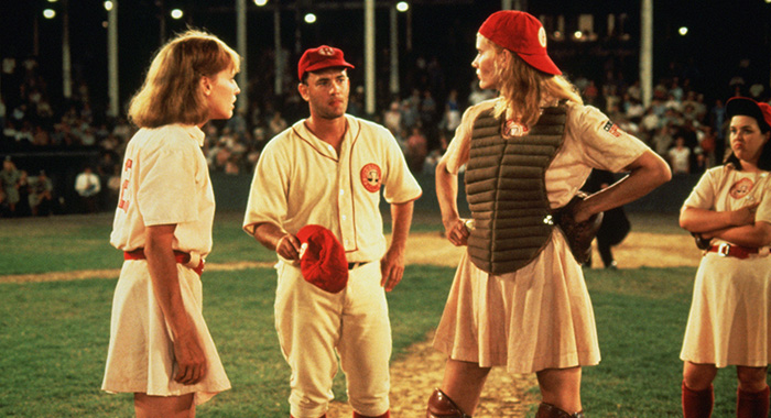 A LEAGUE OF THEIR OWN, Lori Petty, Tom Hanks, Geena Davis, Rosie O'Donnell, 1992, ©Columbia Pictures/courtesy Everett Collection