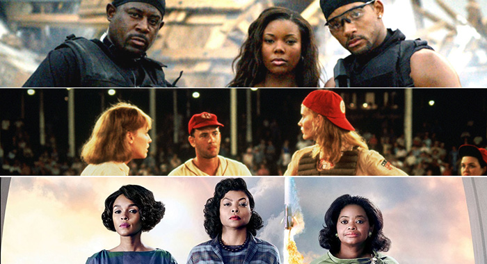 Bad Boys II, A League of Their Own, Hidden Figures (Sony Pictures, Columbia Pictures, 20th Century Fox)