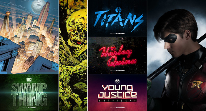 Metropolis, Swamp Thing, Titans title and Brenton Thwaites as Dick Grayson (aka Robin), Harley Quinn title, Young Justice title (DC Entertainment; Steve Wilkie / 2017 Warner Bros. Entertainment Inc.)