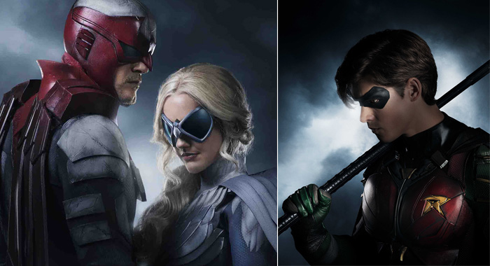 Titans: Alan Ritchson (as Hank Hall aka Hawk) and Minka Kelly (as Dawn Granger aka Dove) and Brenton Thwaites as Dick Grayson (aka Robin) (Steve Wilkie / 2017 Warner Bros. Entertainment Inc.)