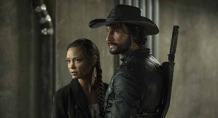 Westworld Episode 13 (season 2, episode 3), debut 5/6/18: Thandie Newton, Rodrigo Santoro. photo: John P. Johnson/HBO