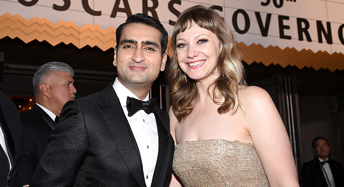 HOLLYWOOD, CA - MARCH 04: Writers Kumail Nanjiani (L) and Emily V. Gordon attend the 90th Annual Academy Awards Governors Ball at Hollywood & Highland Center on March 4, 2018 in Hollywood, California. (Photo by Kevork Djansezian/Getty Images)