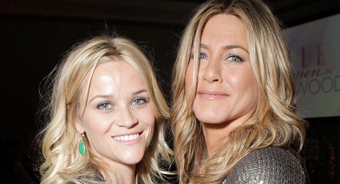 BEVERLY HILLS, CA - OCTOBER 17: Actresses Reese Witherspoon (L) and Jennifer Aniston attend ELLE's 18th Annual Women in Hollywood Tribute held at the Four Seasons Hotel Los Angeles at Beverly Hills on October 17, 2011 in Beverly Hills, California. (Photo by Todd Williamson/Getty Images For ELLE)