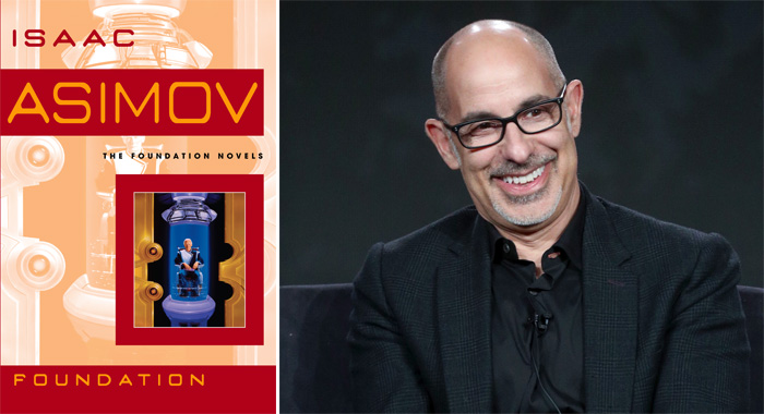 Foundation book cover, David S. Goyer (Penguin Random House; Frederick M. Brown/Getty Images)