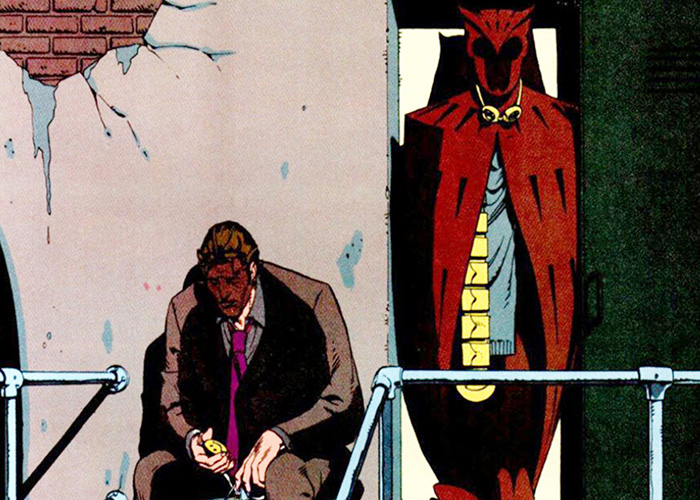 WATCHMEN, Dan Dreiberg sitting beside Nite Owl uniform, a frame from the graphic novel, as drawn by co-creator Dave Gibbons, 2009. ©Warner Bros./courtesy Everett Collection