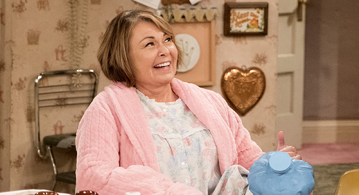 "ROSEANNE - ""Netflix & Pill"" - After celebrating their 45th anniversary, Roseanne reveals to Dan a bigger problem with her bad knee. Meanwhile, Crystal announces her retirement as a waitress at the casino, and Becky and Darlene compete for the job which has full-time benefits, on the eighth episode of the revival of ""Roseanne,"" TUESDAY, MAY 15 (8:00-8:30 p.m. EDT), on The ABC Television Network. (ABC/Adam Rose) ROSEANNE BARR"