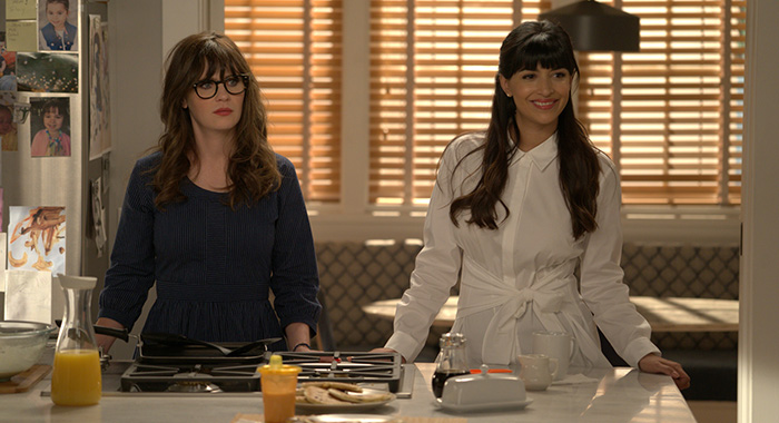 "NEW GIRL: L-R: Zooey Deschanel and Hannah Simone in the ""Lilypads"" episode of NEW GIRL airing Tuesday, April 24 (9:30-10:00 PM ET/PT) on FOX. ©2018 Fox Broadcasting Co. Cr: Ray Mickshaw/FOX"