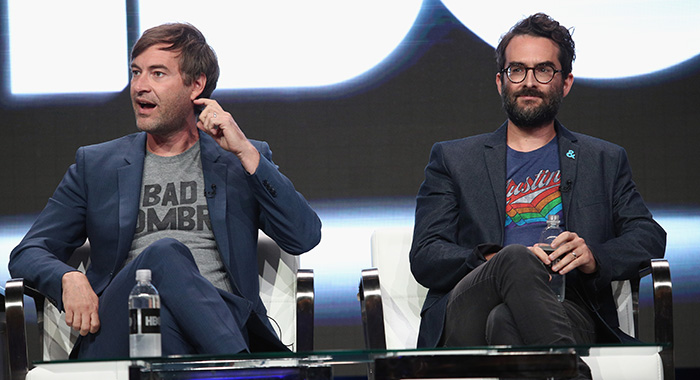 BEVERLY HILLS, CA - JULY 26: Creator/executive producer Mark Duplass and creator/executive producer Jay Duplass of 'Room 104' speak onstage during the HBO portion of the 2017 Summer Television Critics Association Press Tour at The Beverly Hilton Hotel on July 26, 2017 in Beverly Hills, California. (Photo by Frederick M. Brown/Getty Images)