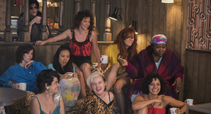 GLOW SEASON Season 2 EPISODE 2 PHOTO CREDIT Erica Parise/Netflix PICTURED Gayle Rankin, Jackie Tohn, Kate Nash, Kia Stevens, Shakira Barrera, Kimmy Gatewood, Rebekka Johnson, Alison Brie, Ellen Wong