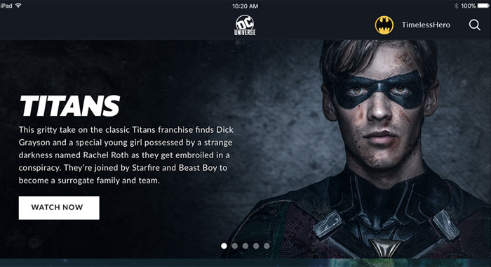 DC UNIVERSE streaming service Home Screen