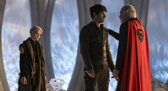 "KRYPTON -- ""The Phantom Zone"" Episode 110 -- Pictured: (l-r) Wallis Day as Nyssa-Vex, Cameron Cuffe as Seg-El, Ian McElhinney as Val-El -- (Photo by: Steffan Hill/Syfy)"