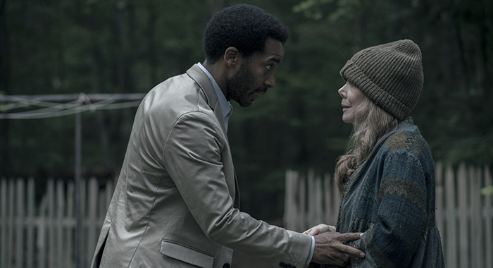 "Castle Rock -- ""Severance"" -- Episode 101 -- Henry Deaver, a death-row attorney, confronts his dark past when an anonymous call lures him back to his hometown of Castle Rock, Maine. Henry Deaver (Andre Holland) and Ruth Deaver (Sissy Spacek), shown. (Photo by: Patrick Harbron/Hulu)"