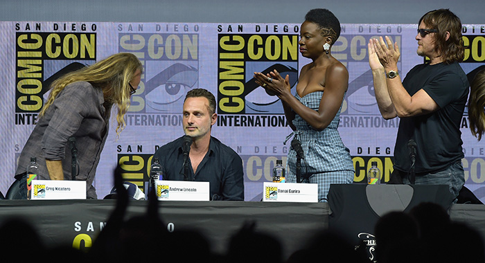SAN DIEGO, CA - JULY 20: (L-R) Greg Nicotero, Andrew Lincoln, Danai Gurira, and Norman Reedus attend 'The Walking Dead' panel with AMC during during Comic-Con International 2018 at San Diego Convention Center on July 20, 2018 in San Diego, California. (Photo by Kevin Winter/Getty Images)