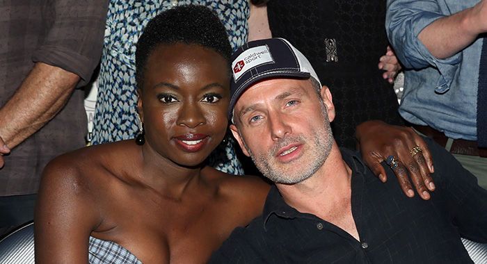 SAN DIEGO, CA - JULY 20: Danai Gurira and Andrew Lincoln attend 'The Walking Dead' panel with AMC during during Comic-Con International 2018 at San Diego Convention Center on July 20, 2018 in San Diego, California. (Photo by Jesse Grant/Getty Images for AMC)