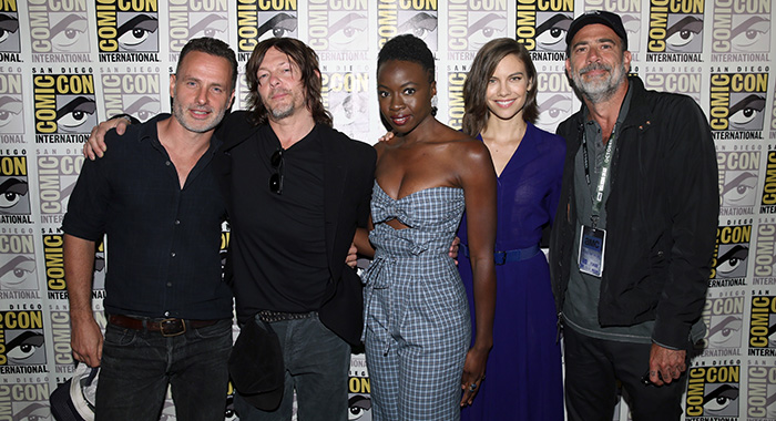 SAN DIEGO, CA - JULY 20: (L-R) Andrew Lincoln, Norman Reedus, Danai Gurira, Lauren Cohan, and Jeffrey Dean Morgan attend 'The Walking Dead' panel with AMC during during Comic-Con International 2018 at San Diego Convention Center on July 20, 2018 in San Diego, California. (Photo by Jesse Grant/Getty Images for AMC)