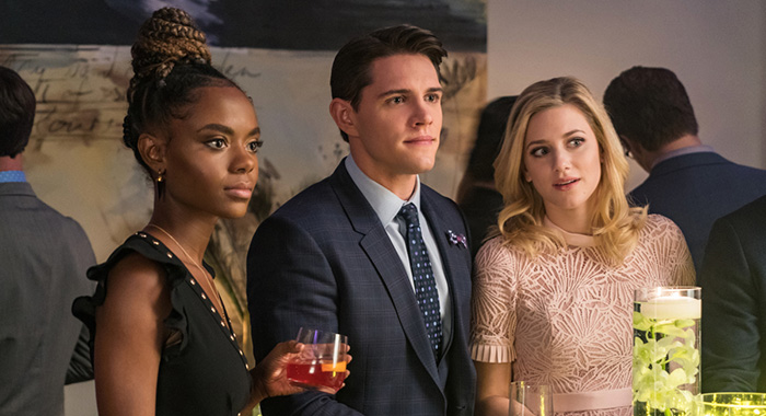 "Riverdale -- ""Chapter Twenty-Five: The Wicked and the Divine"" -- Image Number: RVD212a_0085.jpg -- Pictured (L-R): Ashleigh Murray as Josie, Casey Cott as Kevin and Lili Reinhart as Betty -- Photo: Daniel Power/The CW"