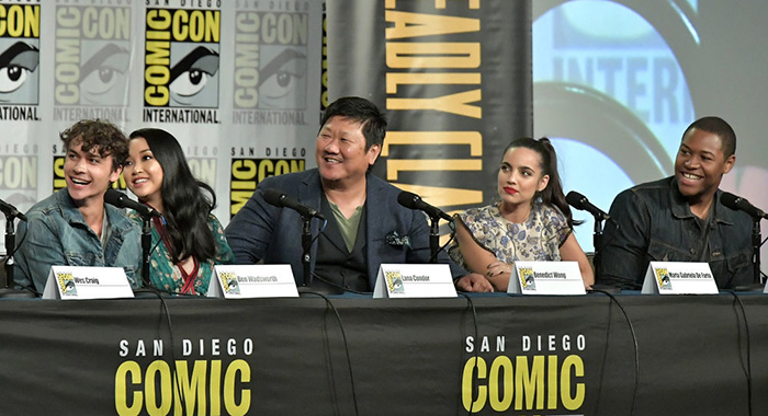 "COMIC-CON INTERNATIONAL: SAN DIEGO -- ""Deadly Class Panel"" -- Pictured: (l-r) Ben Wadsworth, Lana Condor, Benedict Wong, Maria Gabriela De Faria, Luke Tennie -- (Photo by: Neilson Barnard/SYFY)"