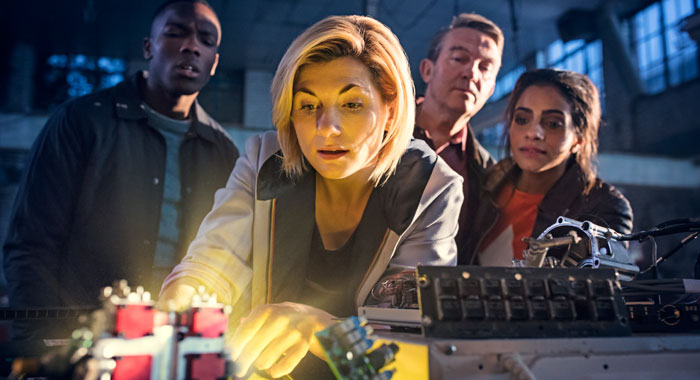DOCTOR WHO Season 11 Description: Picture Shows: Ryan Sinclair (TOSIN COLE), The Doctor (JODIE WHITTAKER), Graham O'Brien (BRADLEY WALSH), Yasmin Khan (MANDIP GILL) Characters/Actors: Type: Episodic Photo Credits: Sophie Mutevelian/BBC America