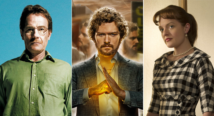 Bryan Cranston in Breaking Bad; Finn Jones in Iron Fist keyart; Peggy Olson (Elisabeth Moss) - Mad Men - Season 2 (AMC/courtesy Everett Collection; Netflix; Frank Ockenfels/AMC)