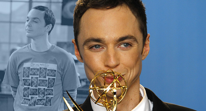 Jim Parsons in The Big Bang Theory and at the Emmy awards (CBS; Lawrence K. Ho/Los Angeles Times via Getty Images)
