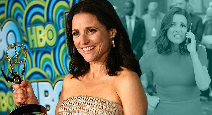 Julia Louis-Dreyfus; Veep (Imeh Akpanudosen/Getty Images; Justin M. Lubin/HBO)