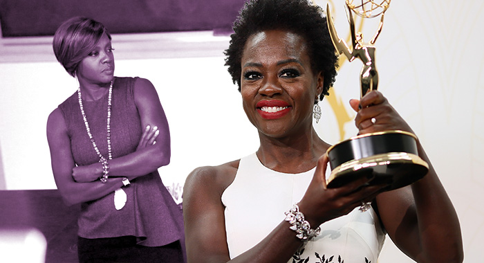 Viola Davis in How to Get Away With Murder and at the Emmys (ABC; Mark Davis/Getty Images)